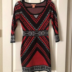"Red geometric dress ""Flying Tomato"" 3/4 sleeves"